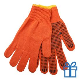 Handschoenen katoen oranje bedrukken