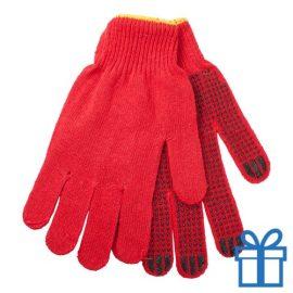 Handschoenen katoen rood bedrukken