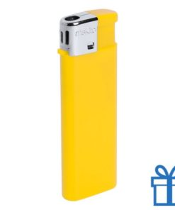 Hervulbare aansteker kinderslot geel bedrukken