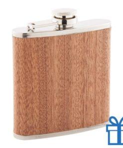 Hippe houten heupfles alcoholflesje bedrukken