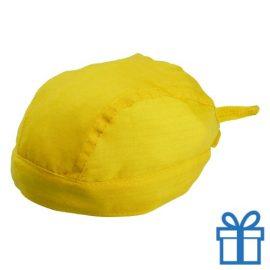 Hoofddoek stoer geel bedrukken