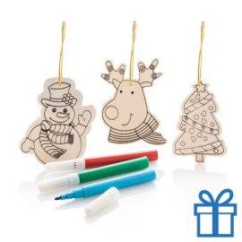 Houten kerstboomhanger decoratie 3 stuks bedrukken
