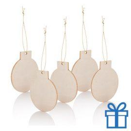 Houten kerstboomhanger kerstbal 5 stuks bedrukken