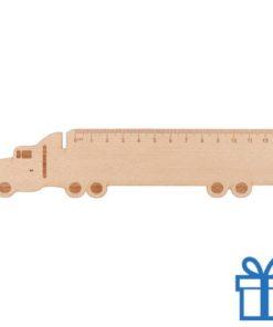 Houten kinderliniaal vrachtwagen bedrukken
