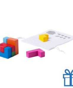 Houten kubus puzzel color bedrukken