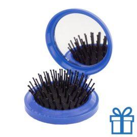 Inklapbare haarborstel spiegel blauw bedrukken