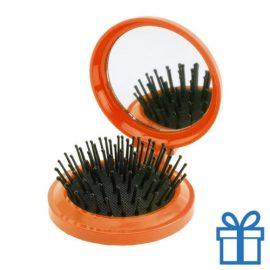 Inklapbare haarborstel spiegel oranje bedrukken