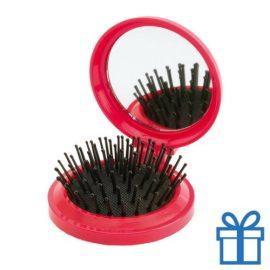 Inklapbare haarborstel spiegel rood bedrukken