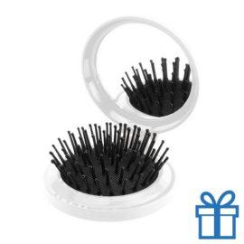 Inklapbare haarborstel spiegel wit bedrukken