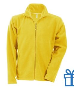 Jas fleece ritszak L geel bedrukken
