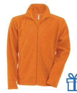 Jas fleece ritszak L oranje bedrukken