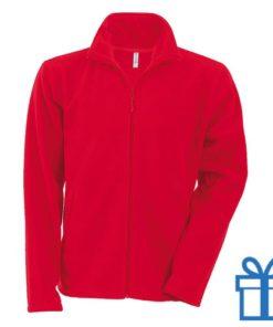 Jas fleece ritszak L rood bedrukken