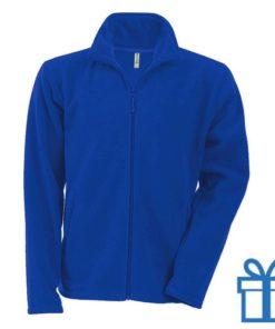 Jas fleece ritszak S blauw bedrukken