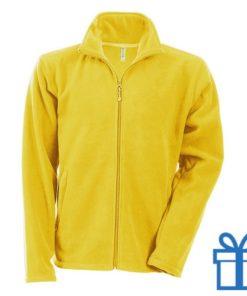 Jas fleece ritszak S geel bedrukken