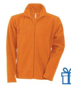 Jas fleece ritszak S oranje bedrukken