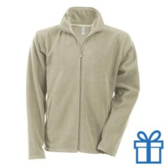 Jas fleece ritszak XL naturel bedrukken