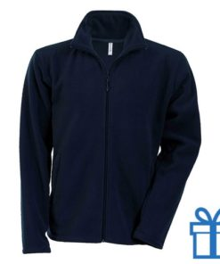 Jas fleece ritszak XL navy bedrukken
