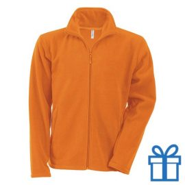 Jas fleece ritszak XL oranje bedrukken