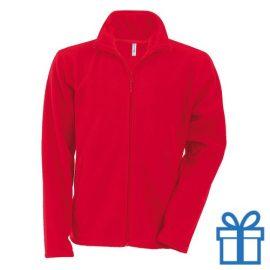 Jas fleece ritszak XL rood bedrukken