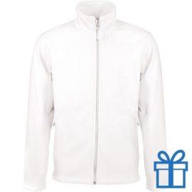 Jas fleece ritszak XL wit bedrukken