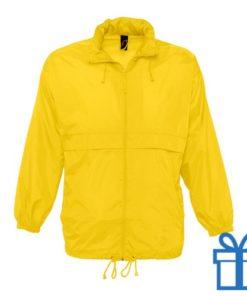 Jas unisex wind waterdicht L geel bedrukken