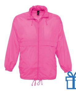 Jas unisex wind waterdicht L roze bedrukken
