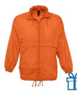 Jas unisex wind waterdicht XL oranje bedrukken