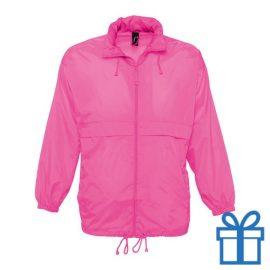 Jas unisex wind waterdicht XL roze bedrukken