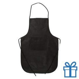 Keukenschort non-woven zwart bedrukken