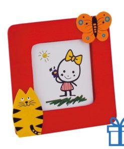 Kinder fotolijstje hout rood bedrukken