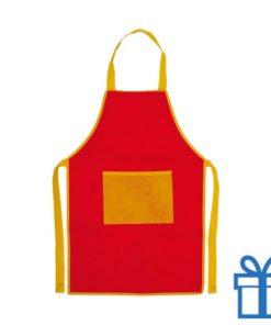 Kinder keukenschort rood  bedrukken