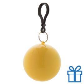 Kinderponcho sleutelhanger geel bedrukken