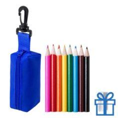 Kleurpotloden set in etui blauw bedrukken