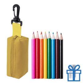 Kleurpotloden set in etui geel bedrukken