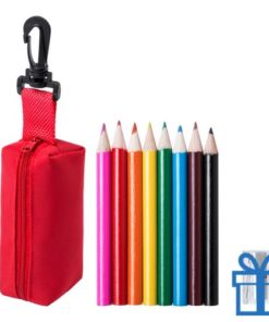 Kleurpotloden set in etui rood bedrukken