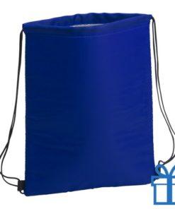 Koeltas trekkoord rugtasje blauw bedrukken
