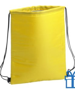 Koeltas trekkoord rugtasje geel bedrukken