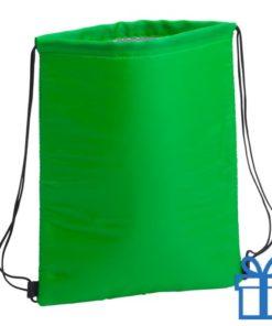 Koeltas trekkoord rugtasje groen bedrukken