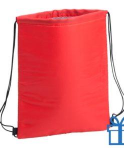 Koeltas trekkoord rugtasje rood bedrukken