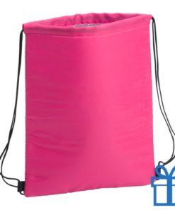 Koeltas trekkoord rugtasje roze bedrukken