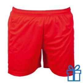 Korte broek polyester 8-10 rood bedrukken