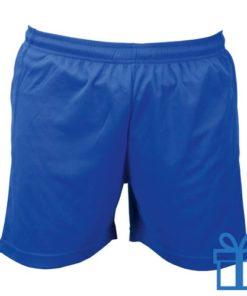Korte broek polyester M blauw bedrukken