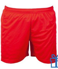 Korte broek polyester S rood bedrukken