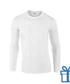 Long sleeve shirt rond L wit bedrukken