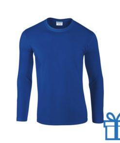 Long sleeve shirt rond M blauw bedrukken