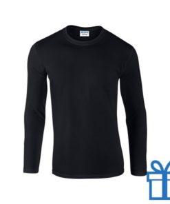 Long sleeve shirt rond M zwart bedrukken