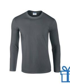 Long sleeve shirt rond S donkergrijs bedrukken