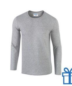Long sleeve shirt rond S grijs bedrukken