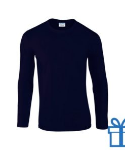 Long sleeve shirt rond S navy bedrukken