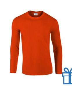 Long sleeve shirt rond S oranje bedrukken